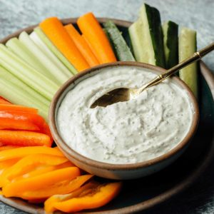 Platter of Soup of Success' Deliciously Dill Dip Product with veggies.