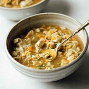 A bowl of Soup of Success' Farmhouse Chicken Noodle Soup.