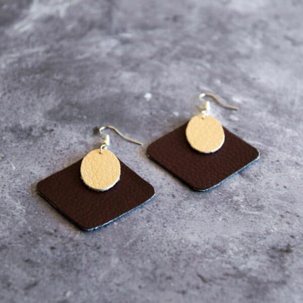 Soup of Success Brown Square Earrings